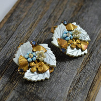 Upcylcled vintage earrings, brass antique jewelry, Lucite earrings, post earrings, Turquoise flower earrings, vintage flower jewelry, trendy