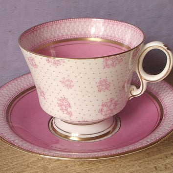 Antique 1920's Paladin pink tea cup and saucer set, English tea cup set, pink and white bone china tea cup set, pink tea set, antique cup