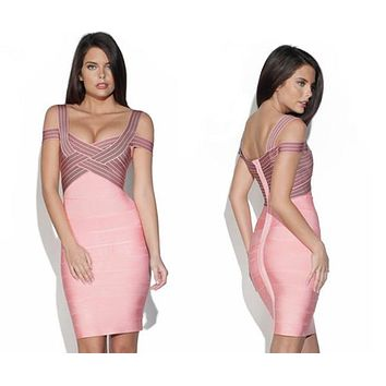 TOP Quality Women Sexy Jacquard Pink Rayon Bandage Dress 2015 Ladies Designer Bodycon HL Bandage Dress For Girls