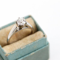 Antique 1/2 Carat Old European Diamond Ring - Size 4 3/4 Modern Platinum Cathedral Setting 1920s 1930s Vintage Fine Engagement Jewelry
