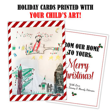 Custom Kid Art Christmas Cards - Child Art Holiday Cards - Personalized Kid Artwork Christmas Card Set - Kids Drawing - 2016 Paintings Cards