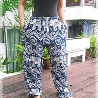 Blue Elephant Yoga Pants Baggy Boho Printed Hippie Gypsy Tribal Aladdin Clothing Beach Casual Tank Trousers Dress Wild Legs Unisex Hobo
