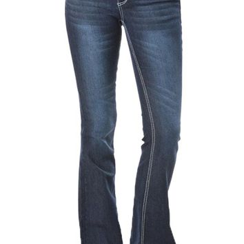 Women's Faded Bootcut Jeans RJB367 - S4E