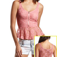 Zip-Front Lace Peplum Top
