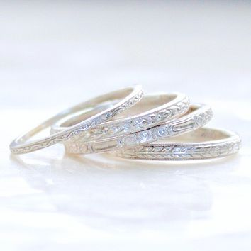 Lagom Engraved Antique Pattern Wedding Bands