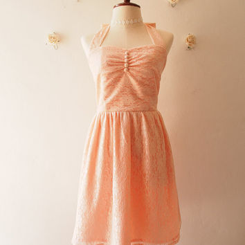 Old Rose Pink Peach Lace Dress Lace Bridesmaid Dress Vintage Sundress Wedding Vintage Dress Romantic Halter Dress Tea Party Dress ,custom