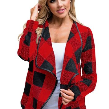 Chicloth Black Red Plaid Open Front Jacket