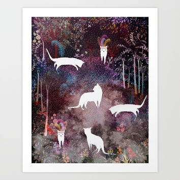 cat heaven Art Print by Danse De Lune