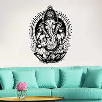 Elephant Wall Decal Vinyl Stickers Yoga Ganesh Decals Tribal Buddha Om Lotus Home Decor Indie Elephant Wall Art Boho Bedding Bedroom ZX115