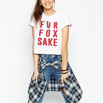 High Street New Brief Style Fur Fox Sake Letter Printed Short Sleeve Punk White Cropped T-Shirt = 1931491268