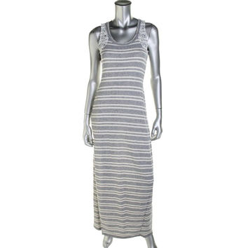 Guess Womens Lace Trim Sleeveless Maxi Dress