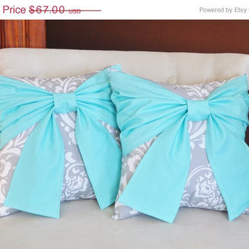 MOTHERS DAY SALE Throw Pillow Set Bright Aqua Bow on Gray and White Damask Pillows 14x14 -Aqua Blue Pillow- Baby Nursery Decor-