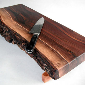 NATURAL live edged long and thick BLACK WALNUT serving board/cutting board