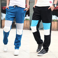 Color Patch Casual Men Sweat Pants