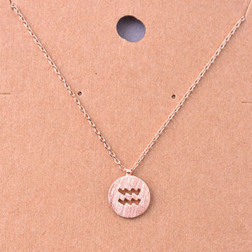 Aquarius Rose Gold Zodiac Charm Necklace