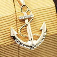Colorful Rhinestone Anchor Pendant Necklace Silver
