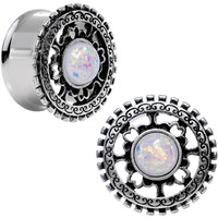 "7/8"" White Faux Opal Steel Finely Framed Double Flare Plug Set 