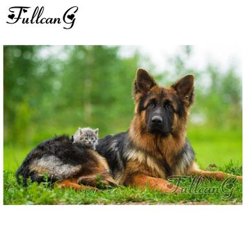 5D Diamond Painting German Shepherd and the Kitten Kit