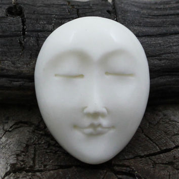Oval Face Cabochon, Carving from Bone, Eyes Closed, Mediation, 25mm