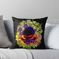 'Skull on Flowers' Throw Pillow by hypnotzd