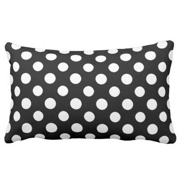 Black and White Polka Dot Pattern Lumbar Pillow
