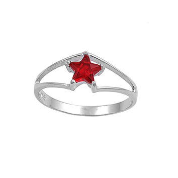 925 Sterling Silver CZ Solitaire Star Simulated Ruby Ring 7MM