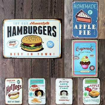 Food painting iron panel 20*30CM Metal Stickers Tin Signs Club Gallery Poster Vintage Plaque Decor Delicious Food Wall Posters