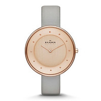 Skagen Denmark Women's Gitte Light Grey Leather Strap Watch with Rose Goldtone Case at www.bonton.com