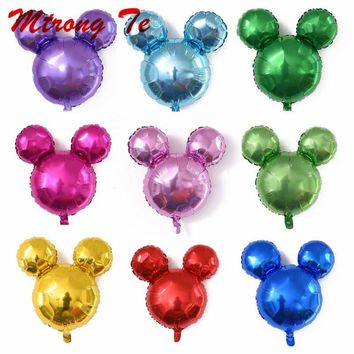 10pcs mini mickey minnie mouse head aluminum foil balloons helium globos baby shower birthday party decoration ballons supplies