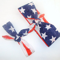 Mommy and Me Fourth of July Head Scarfs American Flag Women Baby Headband Hair Accessory