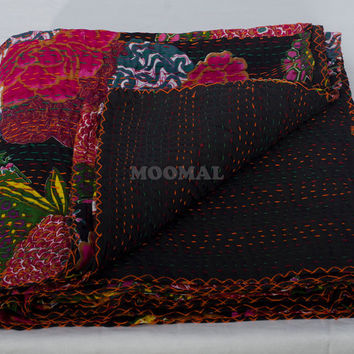 "108"" X 108"" King Size Black Kantha Quilt, Blanket, Bedspread, Bed Cover In Beautiful Design"