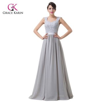 Chiffon Long Evening Dresses Grace Karin Lace Grey 2017 New Arrival cap Sleeves Formal Evening Gowns elegant  party Dress 6231