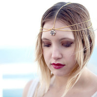 Gold Flower Head Chain, Headdress, Chain Headband, Chain Head Piece