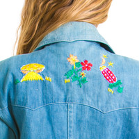 Vintage 70's Embroidered Nature's Daughter Denim Jacket - XS/S