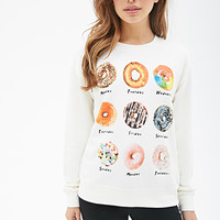 FOREVER 21 Donut Days Sweatshirt Cream/Multi