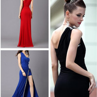 Newest Women's Evening Party Dress Ball Gowns Wedding Bridesmaids' &Formal Elegant Dresses One shoulder prom dresses = 5738935873