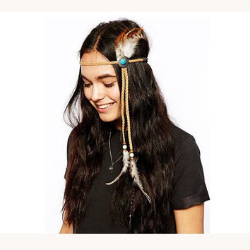 Turquoise Handmade Feather Headband, Bohemian, headband, Native, American, braided headband, Indian,hippie headband, hipster, freespirit = 1928607620