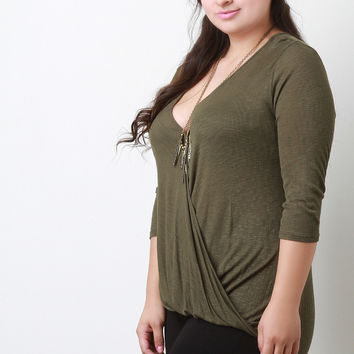 Jersey Knit Deep V-Neck Quarter Sleeves Top