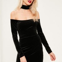Missguided - Tall Black Choker Neck Bardot Velvet Dress