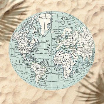 Round Beach Towel, Globe - vintage map blue and white , beach towel, bath towel, beach blanket, blue map, novel pool towel