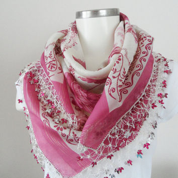 pink scarf, Multicolor, authentic, romantic, Turkish Yemeni OYA Scarf, scarf, elegant, fashion, Floral