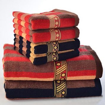 JZGH 3pcs Bohemia Cotton Bath Towels Sets for Adults Striped Elegant Decorative Terry Beach Bath Bathroom Towels Sets T979