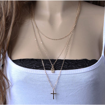 Gift New Arrival Simple Design Chain Cross Necklace = 4831088644