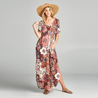 Hawaiian Hibiscus Maxi Dress