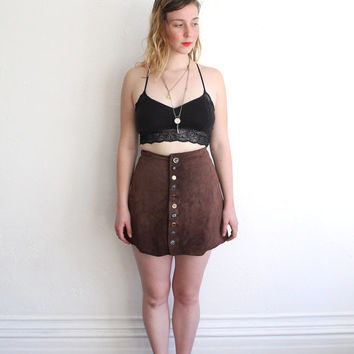 Vintage 90s Brown Leather Mini Circle Skirt with Mis-Matched Gold Buttons