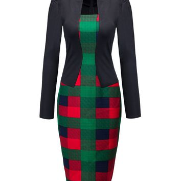 Streetstyle  Casual Fake Two-piece Color Block Plaid Bodycon Dress