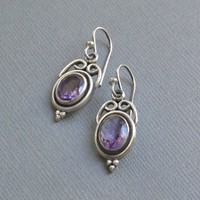 Vintage STERLING Silver Amethyst EARRINGS Gemstone Earring Dangle Drops BYZANTINE Design Pierced Ears Hallmarked c.1980s