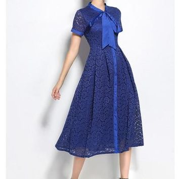 Tie Neck Blue Women's Lace Dress