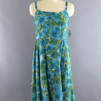 Vintage 1960s Blue Floral Print Cotton Sundress