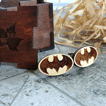Batman Cufflinks Wooden Cufflinks Groomsmen gift Star Wars gift Cuff links Valentines gifts for him Wedding Gifts for men